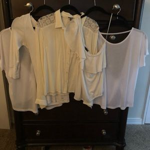 Bundle of 5 White/Ivory Tops